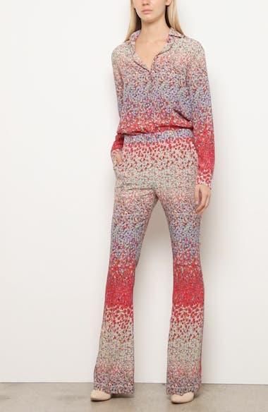 Dégradé Floral Print Silk Flare Pants, video thumbnail