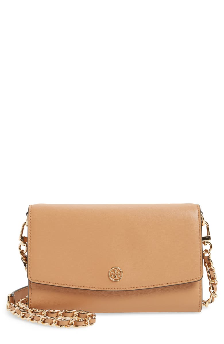 TORY BURCH Parker Leather Wallet on a Chain, Main, color, 259