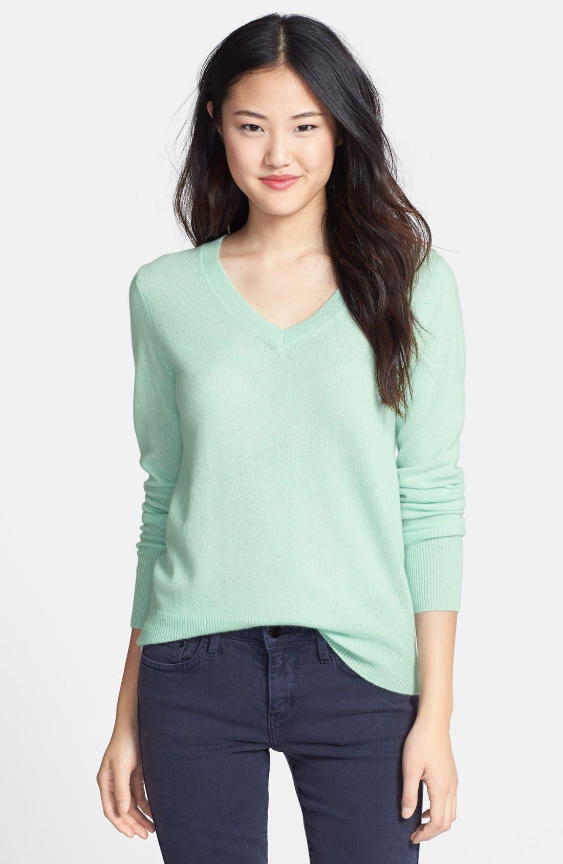 ,                             Cashmere V-Neck Sweater,                             Main thumbnail 52, color,                             449