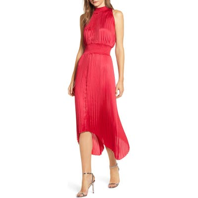 1.state Halter Neck Handkerchief Hem Pleated Dress, Red