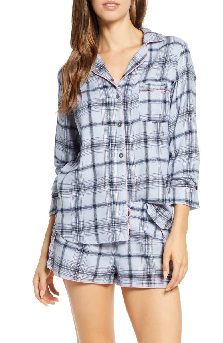 UGG<SUP>®</SUP> Milo Flannel Short Pajamas, Main, color, FRESH AIR PLAID