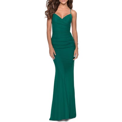 La Femme Strappy Back Ruched Trumpet Gown, Green