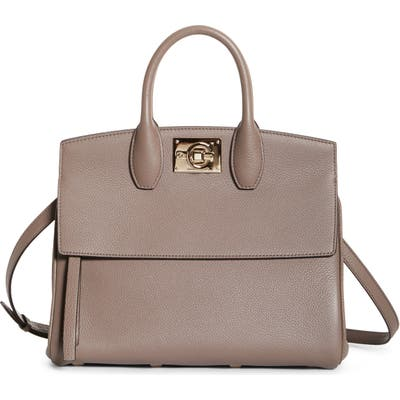 Salvatore Ferragamo The Studio Calfskin Leather Top Handle Bag - Brown