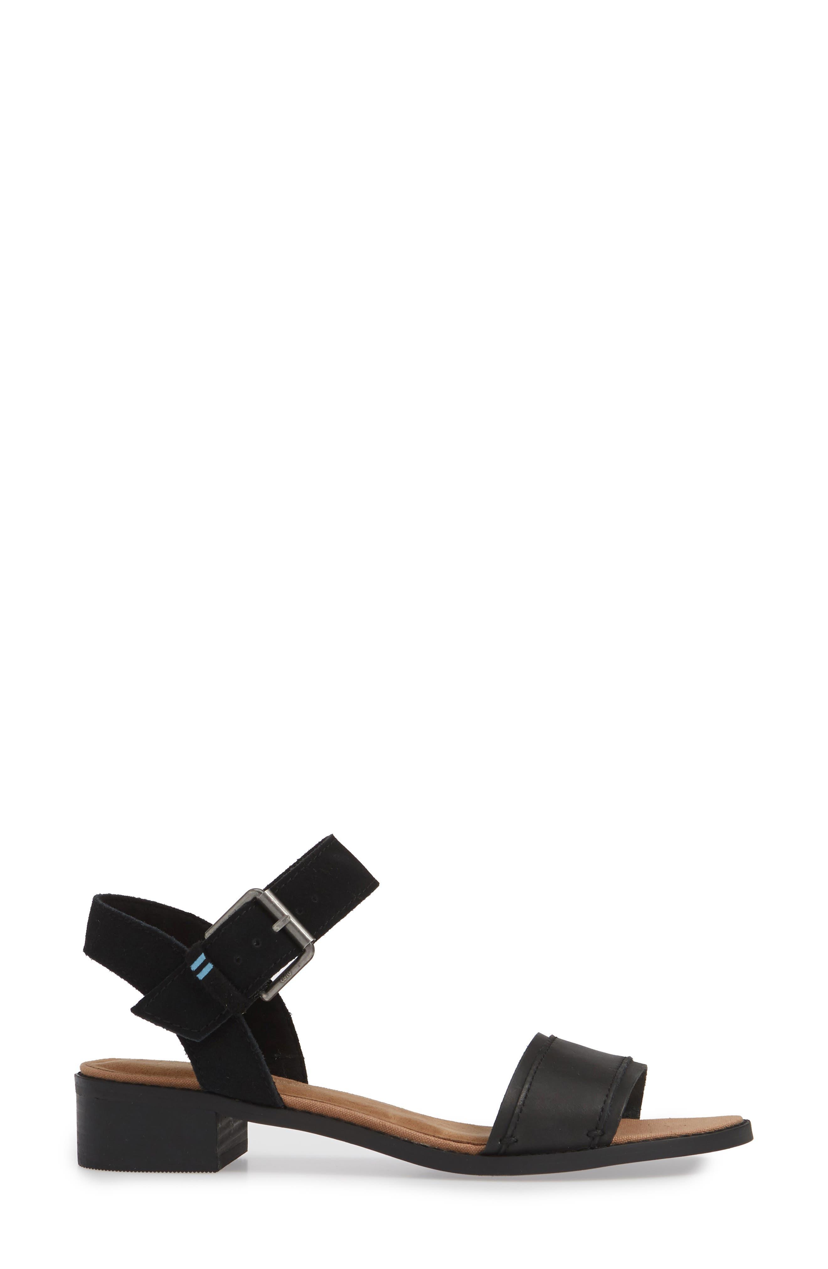 ,                             Camilia Sandal,                             Alternate thumbnail 3, color,                             BLACK/ BLACK LEATHER