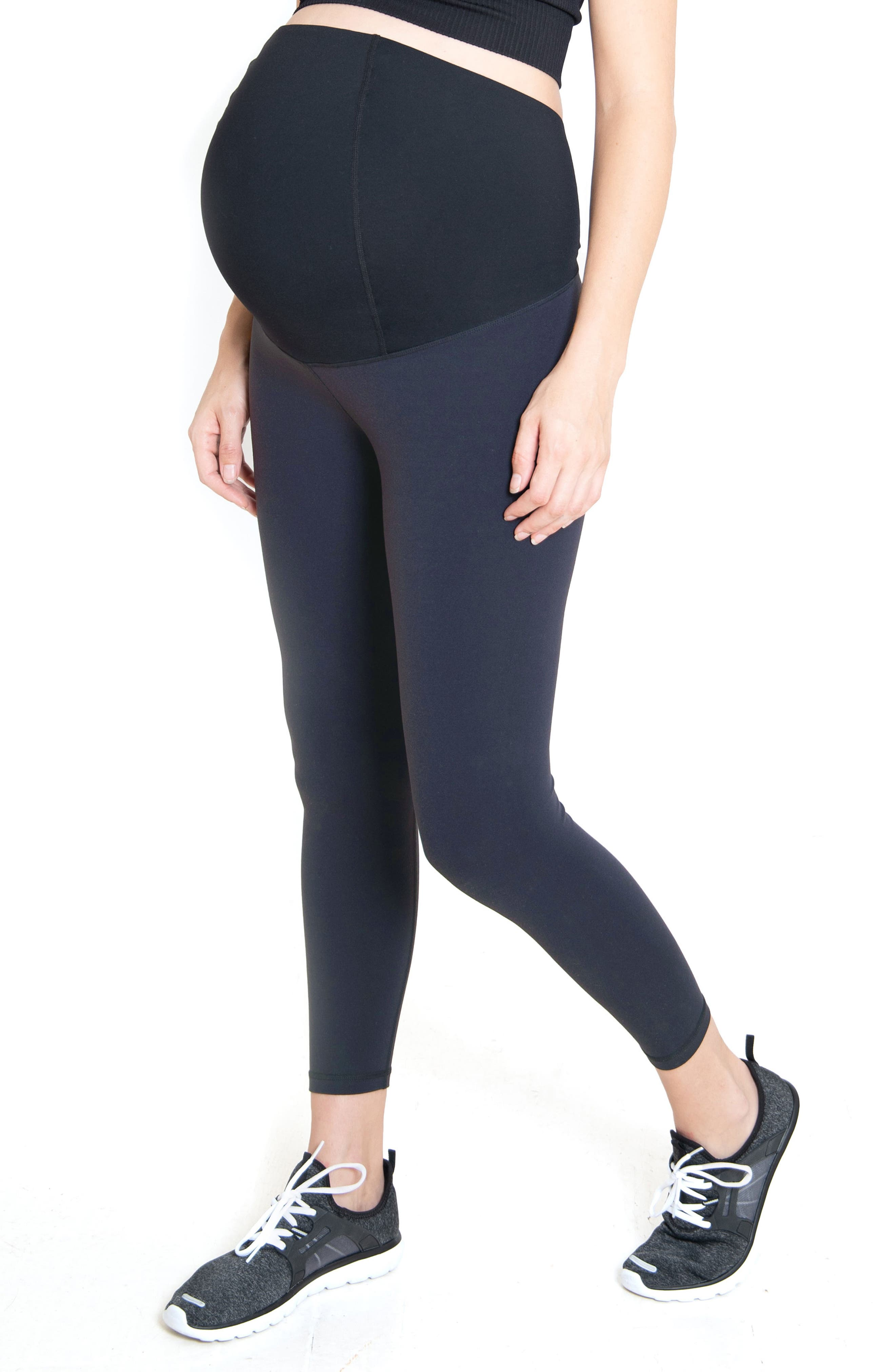 Ingrid & IsabelR Women's Ingrid & Isabel Crossover Waist 7/8 Active Maternity Leggings,  X-Small - Metallic