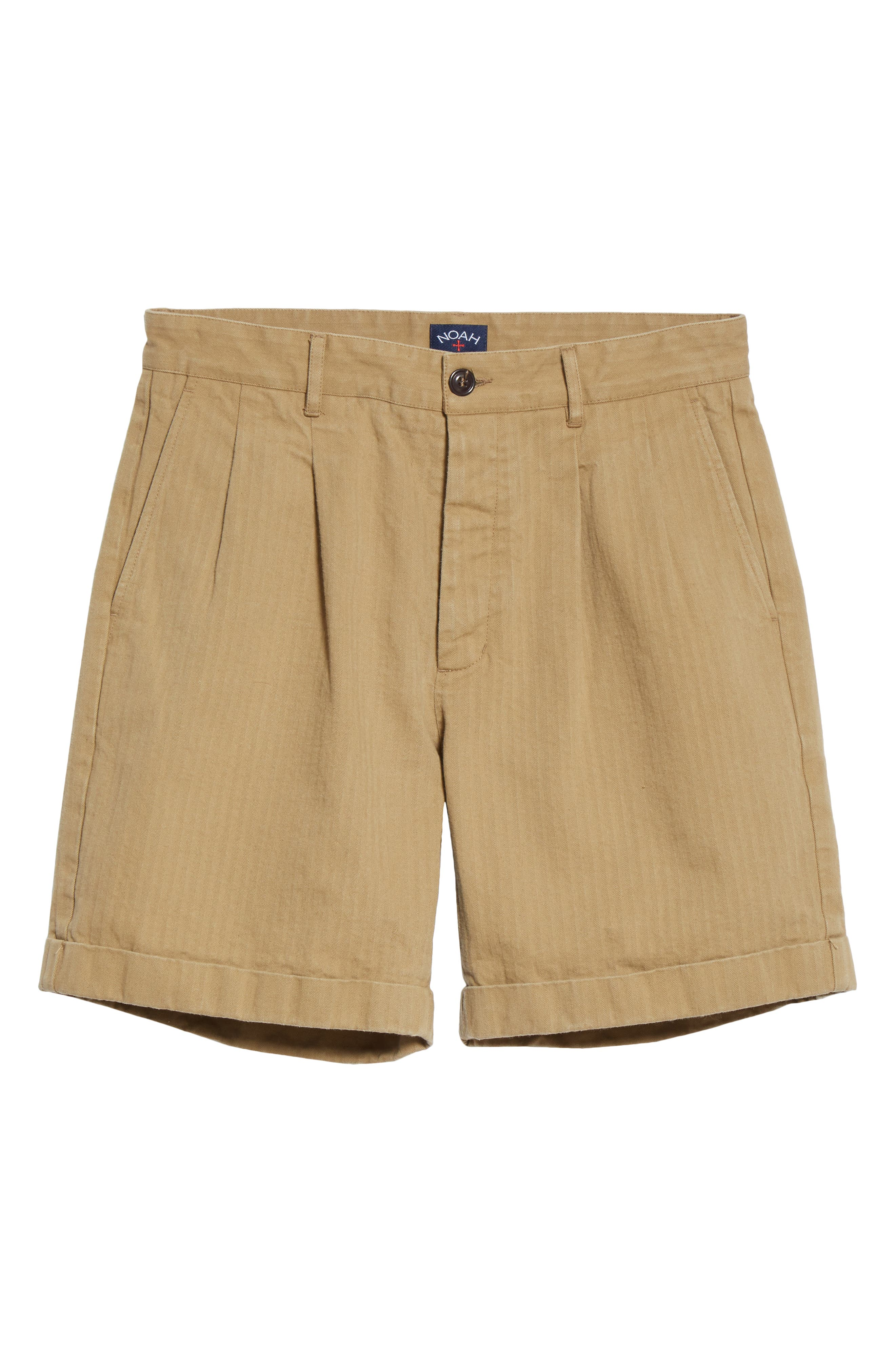 Vintage Style Mens Shorts Mens Noah Pleated Herringbone Shorts Size X-Large - Brown $114.00 AT vintagedancer.com