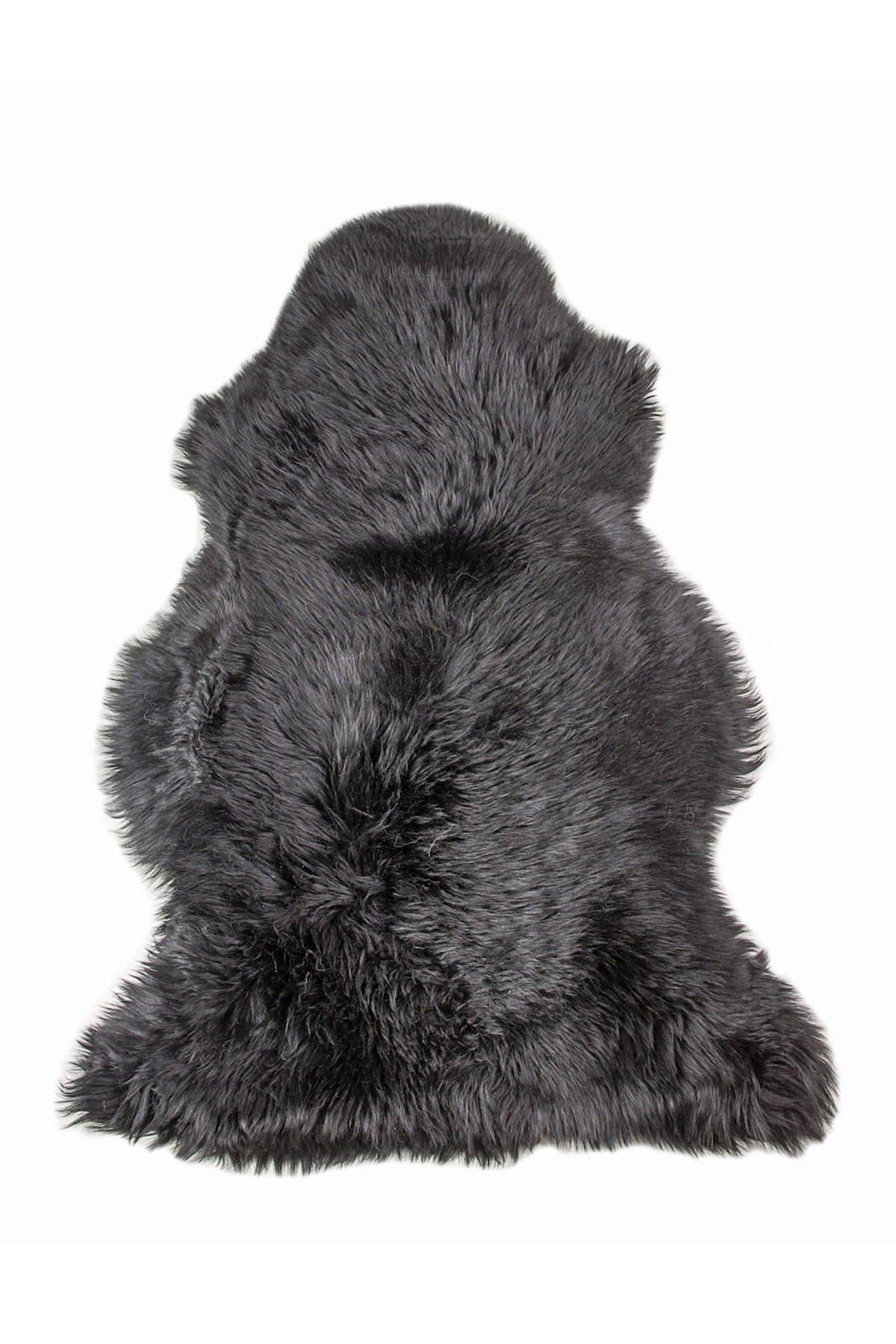 """Image of Natural Milan Genuine Sheepskin Shearling Throw 24"""" x 36"""" - Black"""