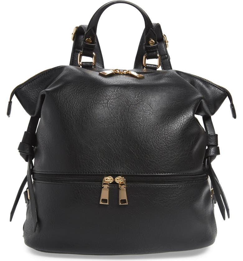 SOLE SOCIETY Cyndi Faux Leather Backpack, Main, color, BLACK