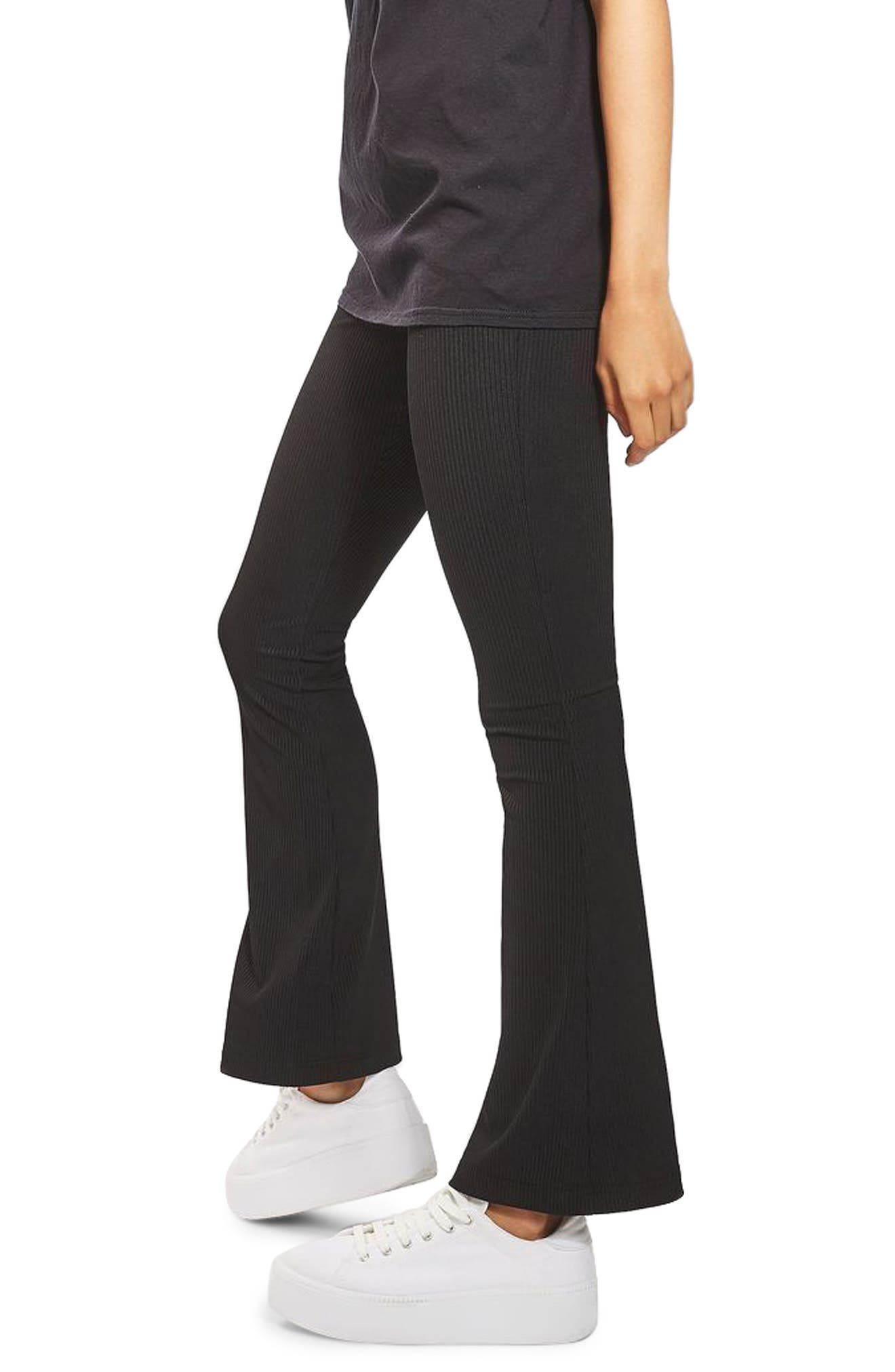 ,                             Ribbed Flare Pants,                             Alternate thumbnail 4, color,                             BLACK