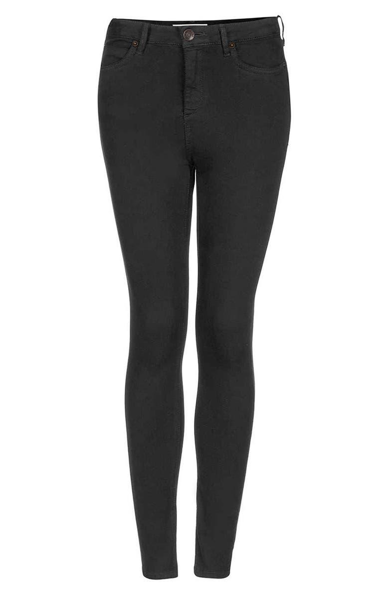 TOPSHOP Moto 'Jamie' High Rise Skinny Jeans, Main, color, Black