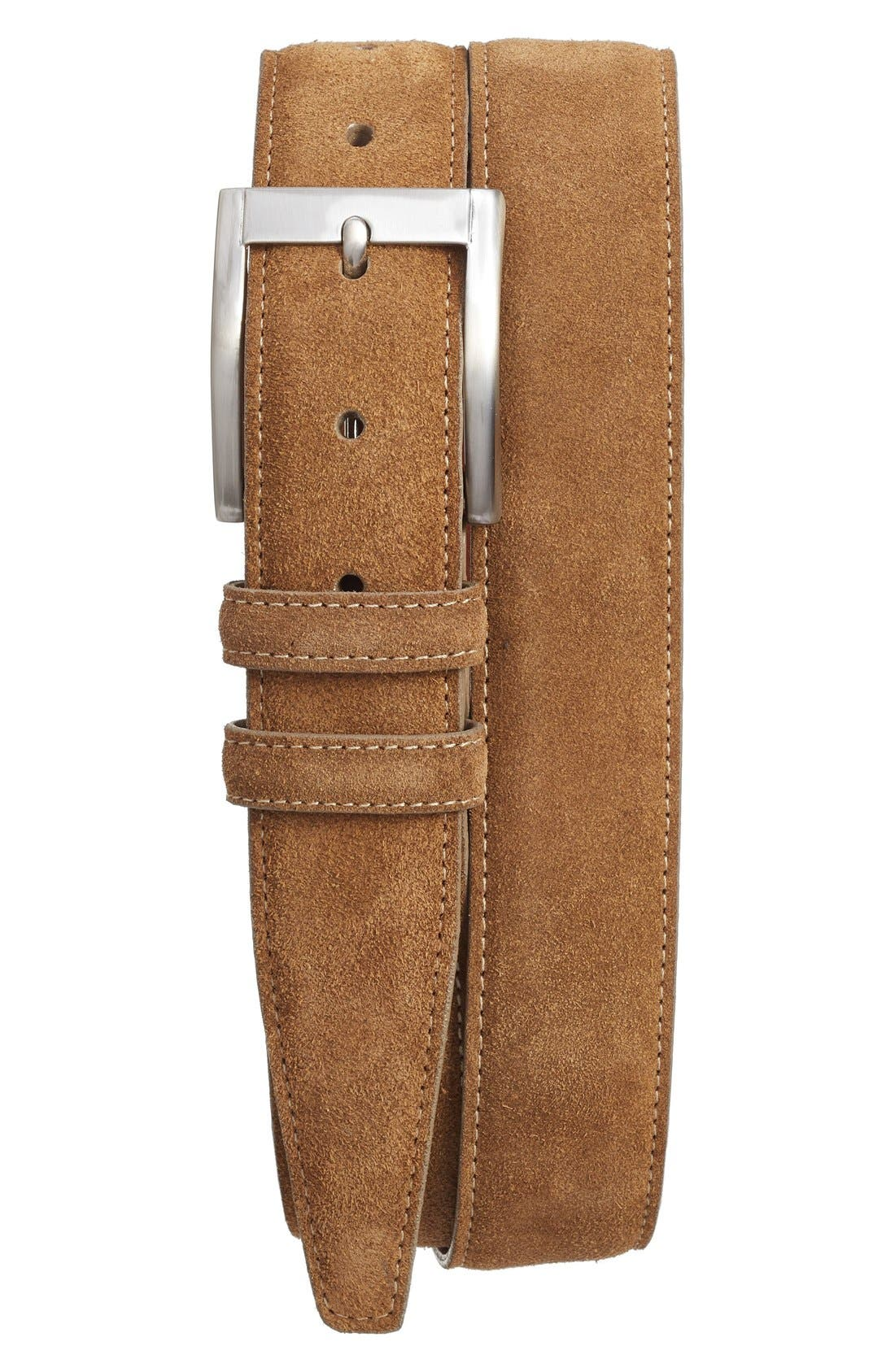 ,                             Suede Belt,                             Main thumbnail 1, color,                             WHISKEY
