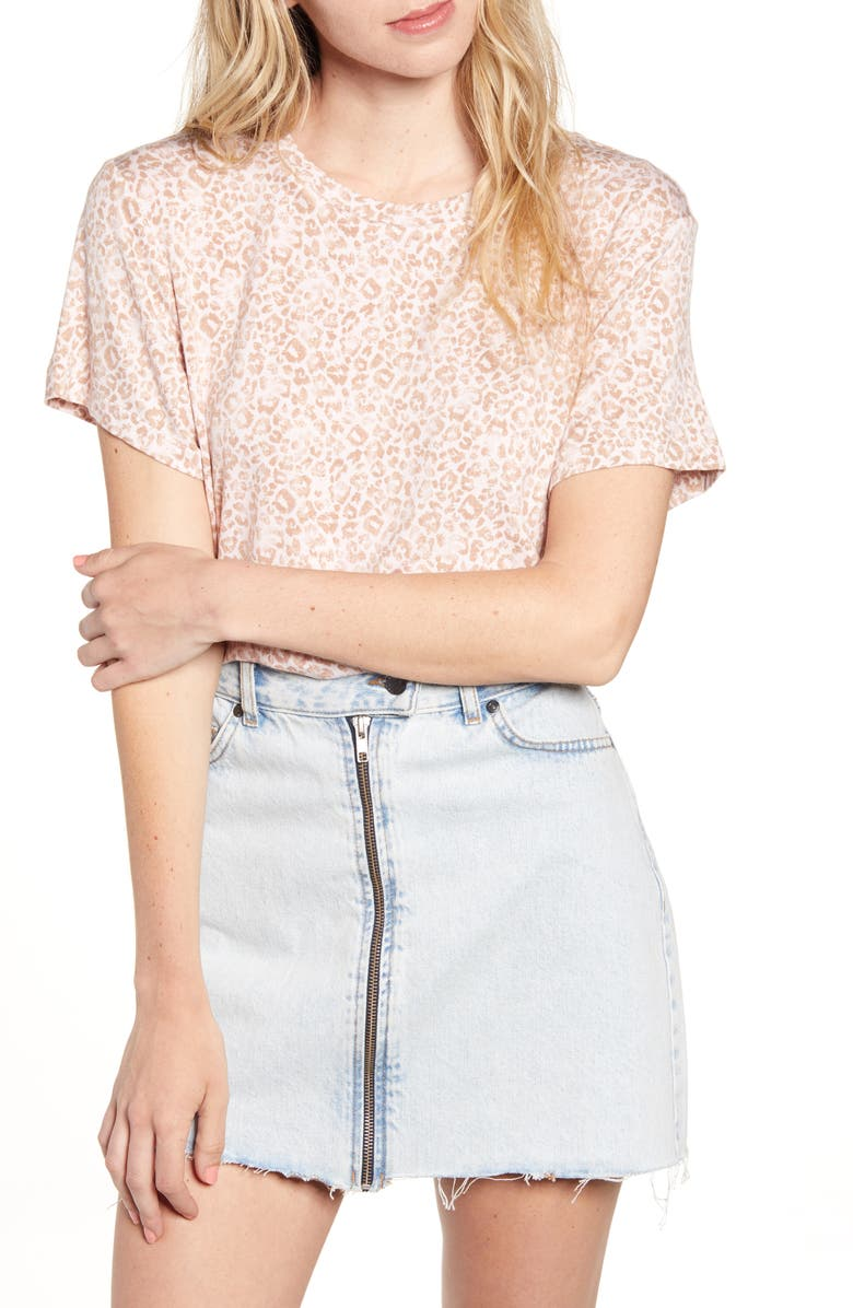 SOCIALITE Washed Print Tee, Main, color, PINK/ TOFFEE