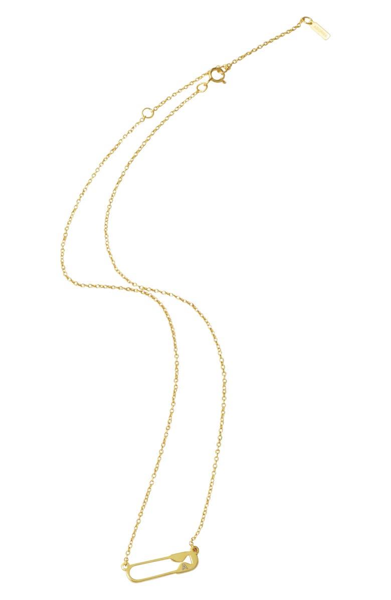 ADORNIA Safety Pin Necklace, Main, color, METALLIC GOLD