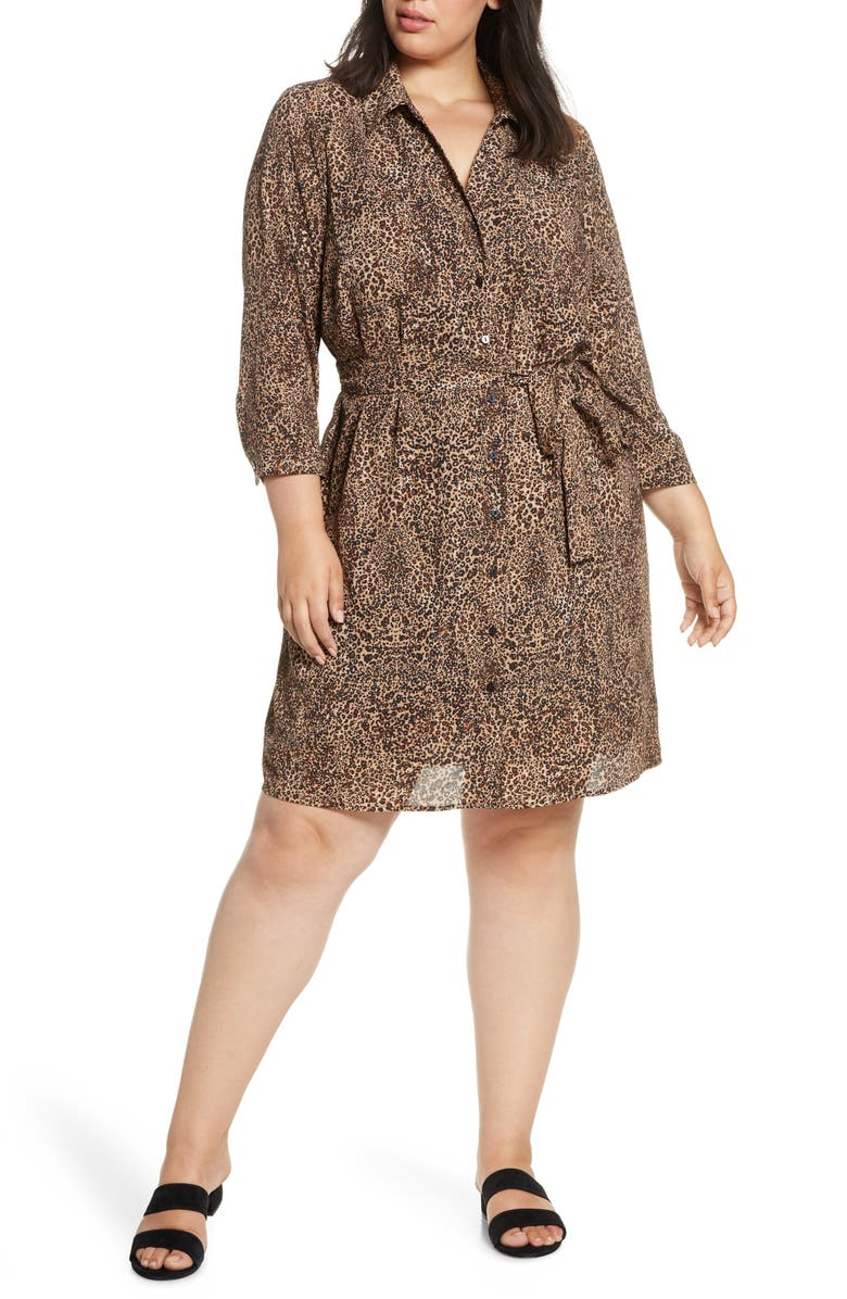 1.STATE Leopard Print Shirtdress, Main, color, CARAMELMULTI