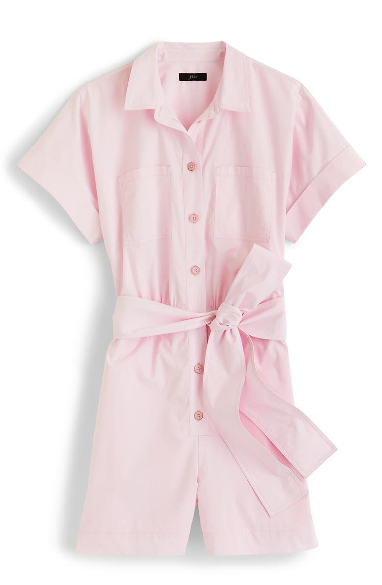 J.CREW Button-Up Short Romper, Main, color, PINK