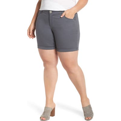 Plus Size Wit & Wisdom Ab-Solution Stretch Cotton Shorts, Grey (Plus Size) (Nordstrom Exclusive)