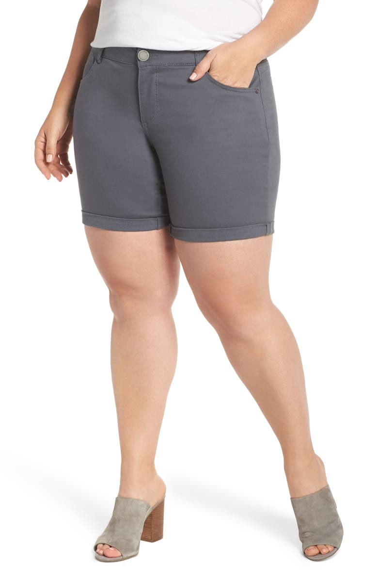 WIT & WISDOM Ab-Solution Stretch Cotton Shorts, Main, color, SHADOW