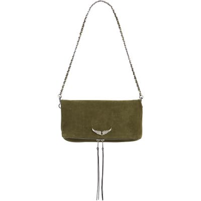 Zadig & Voltaire Rock Suede Convertible Clutch - Green