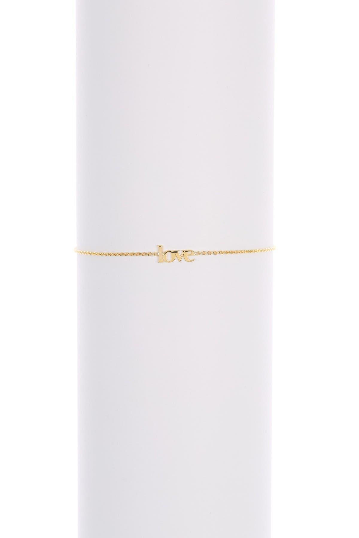 Image of Candela 10K Yellow 'Love' Charm Adjustable Bracelet