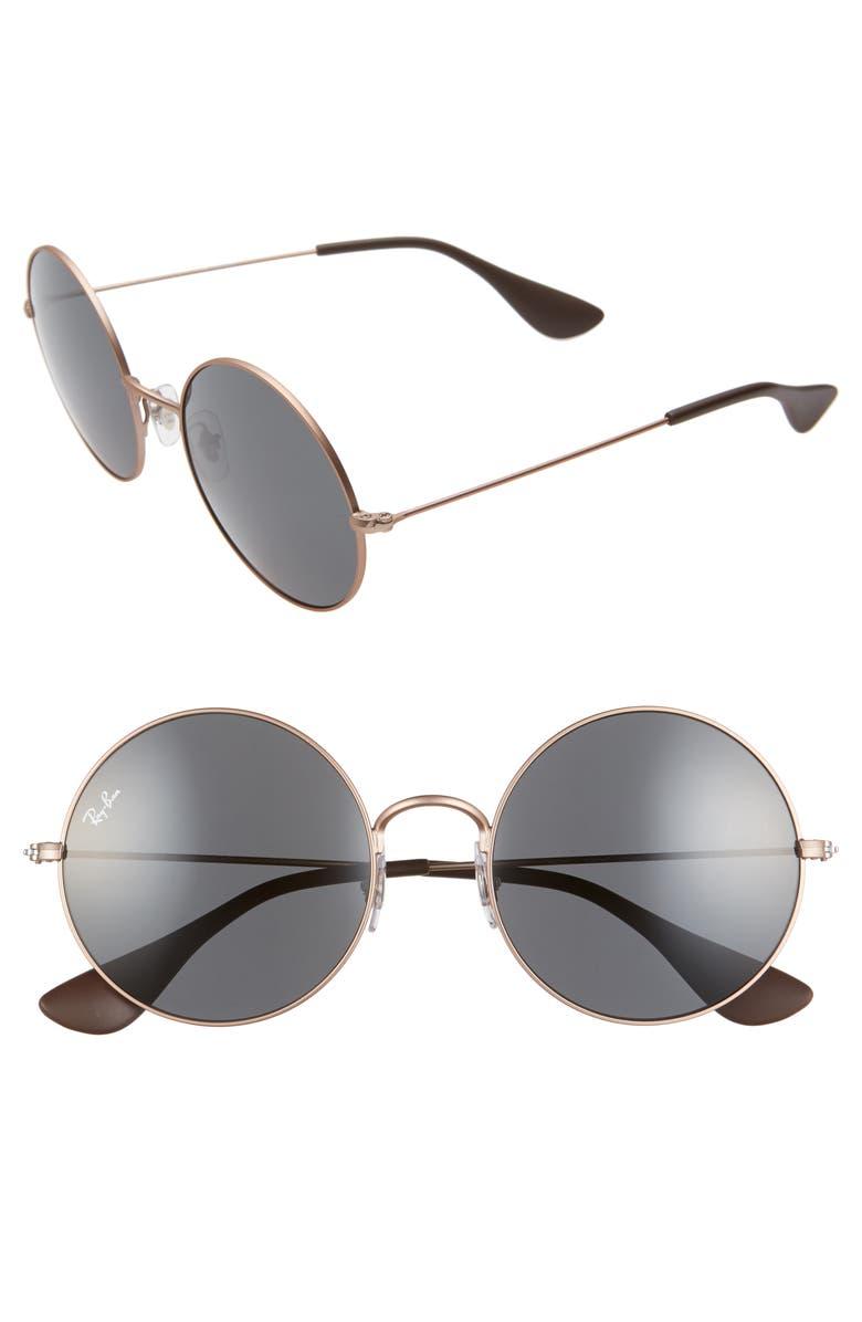 RAY-BAN 55mm Dark Round Sunglasses, Main, color, 220