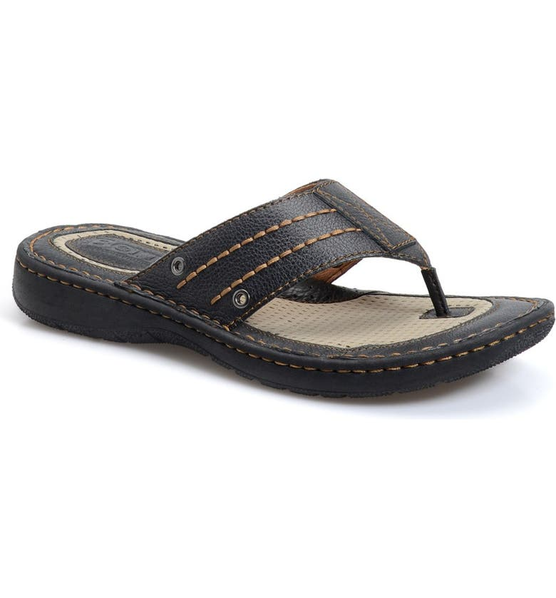BØRN 'Jonah' Flip Flop, Main, color, BLACK LEATHER