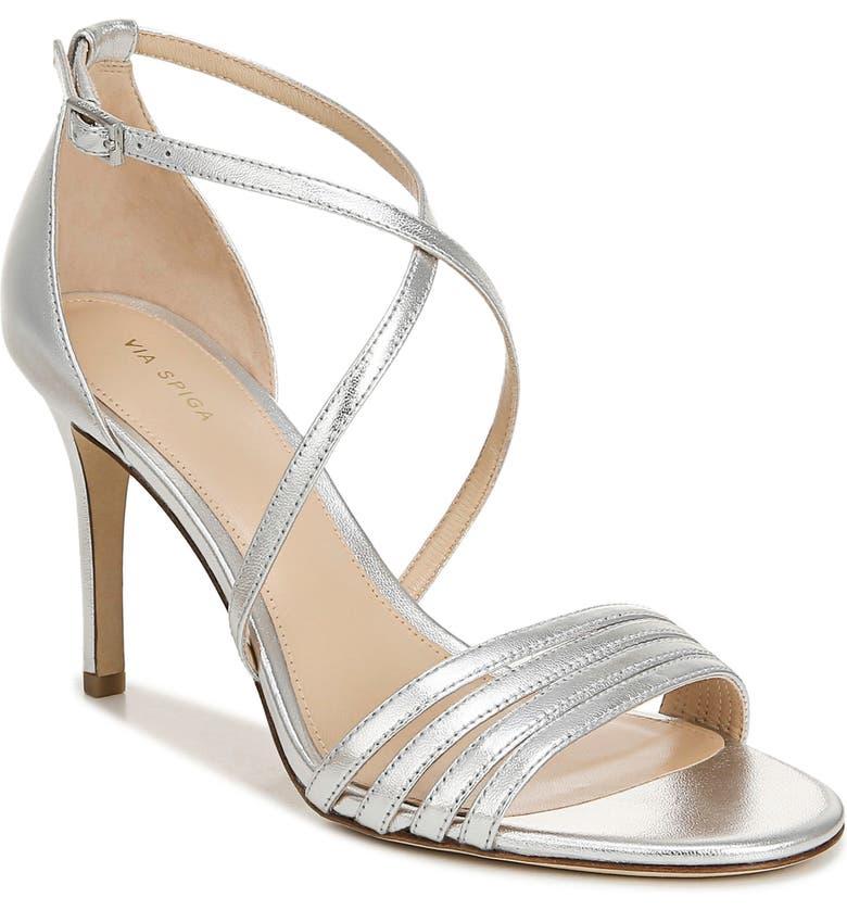 VIA SPIGA Mila Metallic Sandal, Main, color, SILVER NAPPA LEATHER