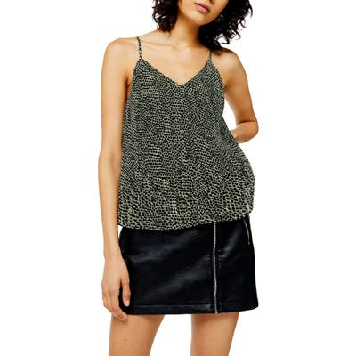 Topshop Animal Pleated Camisole, US (fits like 14) - Green
