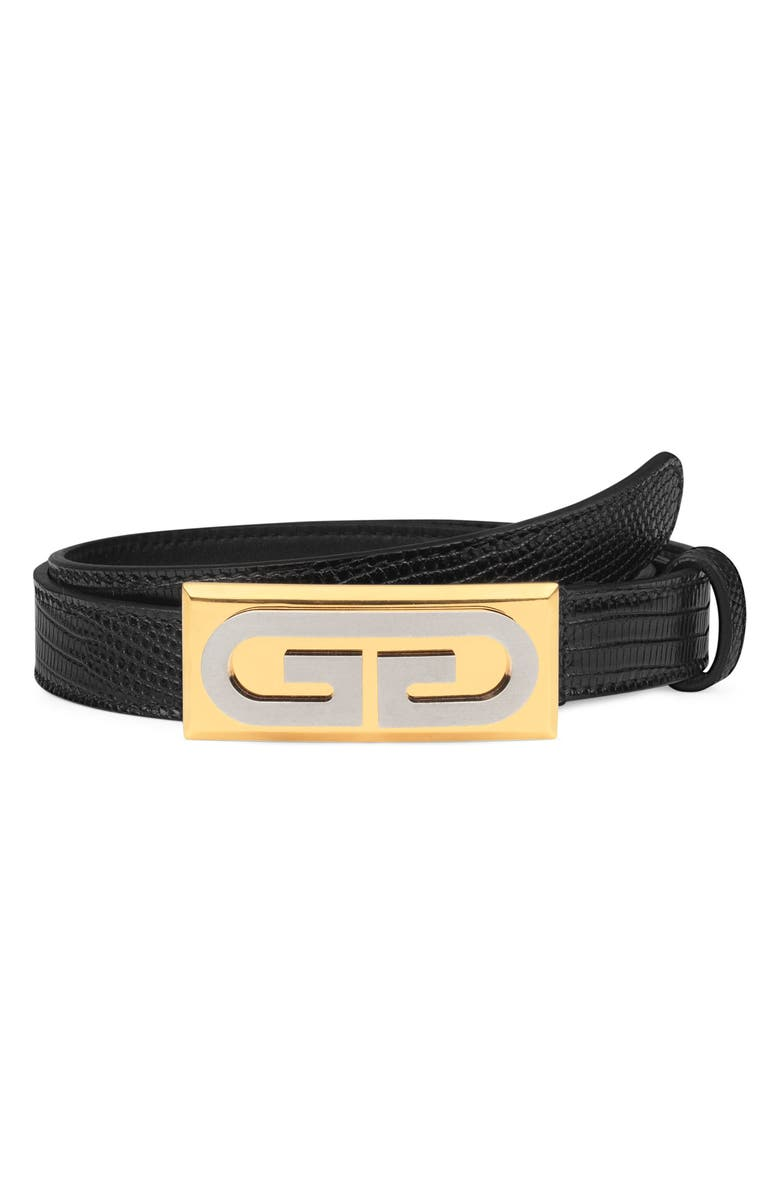 GUCCI G-Plaque Genuine Lizardskin Skinny Belt, Main, color, NERO