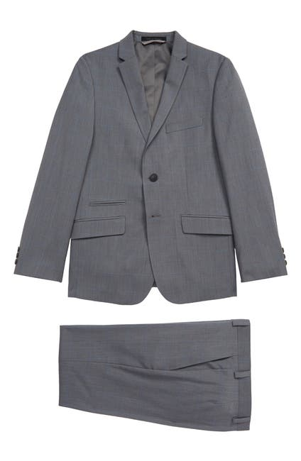 Image of Andrew Marc Windowpane Skinny Fit Suit