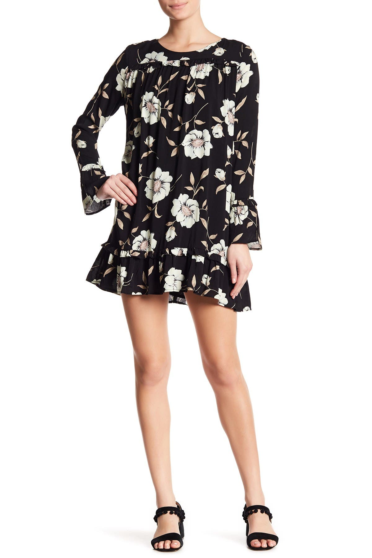 Image of Lucca Couture Gemma Floral Ruffle Sleeve Dress