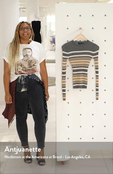 Stripe Ribbed Crewneck Cashmere Sweater, sales video thumbnail