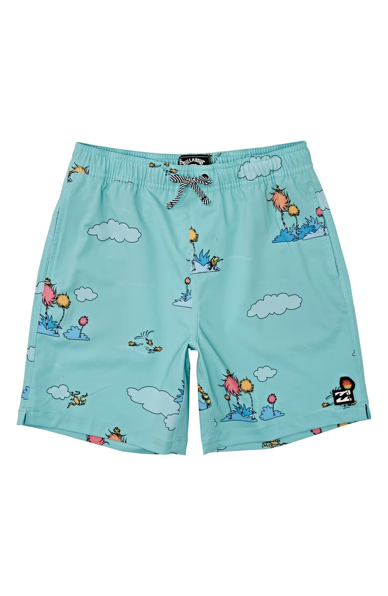 BILLABONG x Dr. Seuss The Lorax Layback Swim Trunks, Main, color, MINT