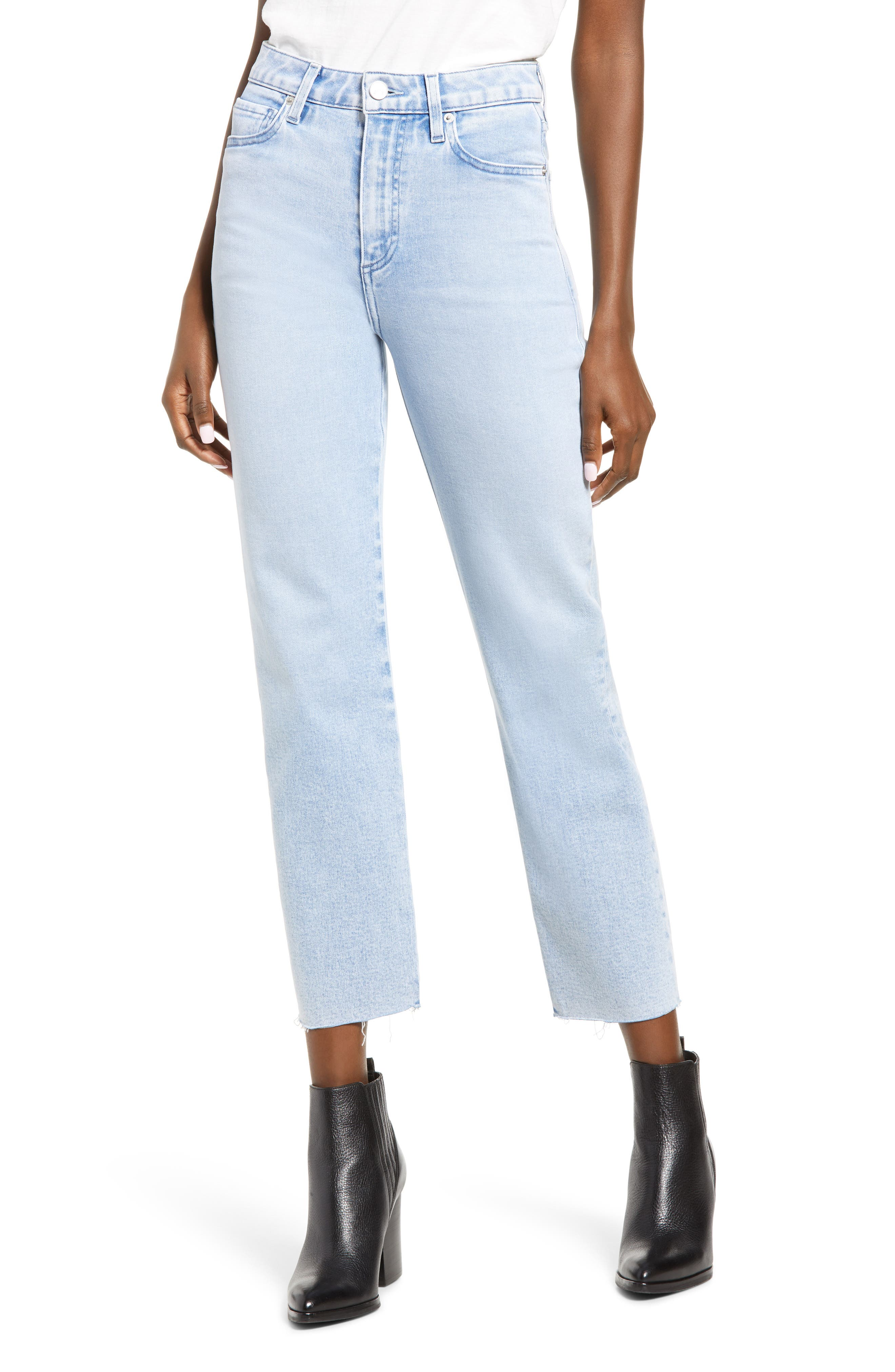 Sabine High Waist Raw Hem Ankle Straight Leg Jeans