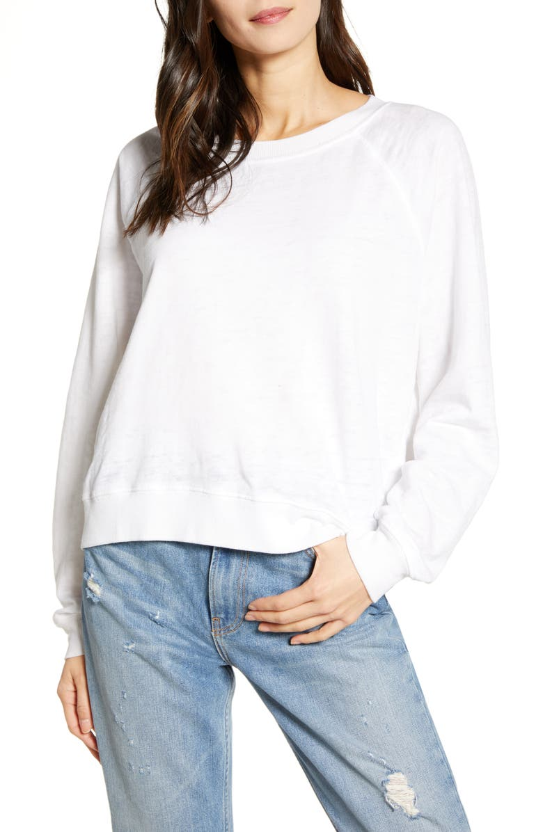 RECYCLED KARMA Long Sleeve Burnout Tee, Main, color, WHITE