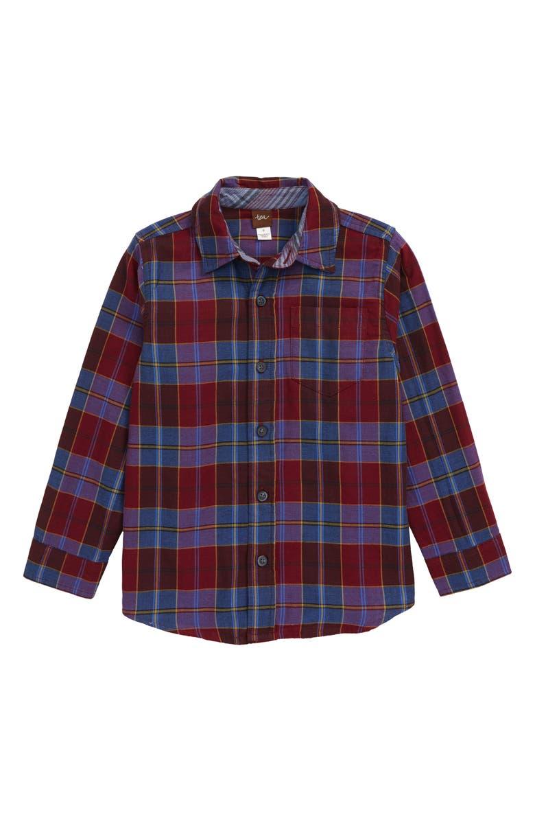 TEA COLLECTION Plaid Double Weave Button-Up Shirt, Main, color, BOYSENBERRY