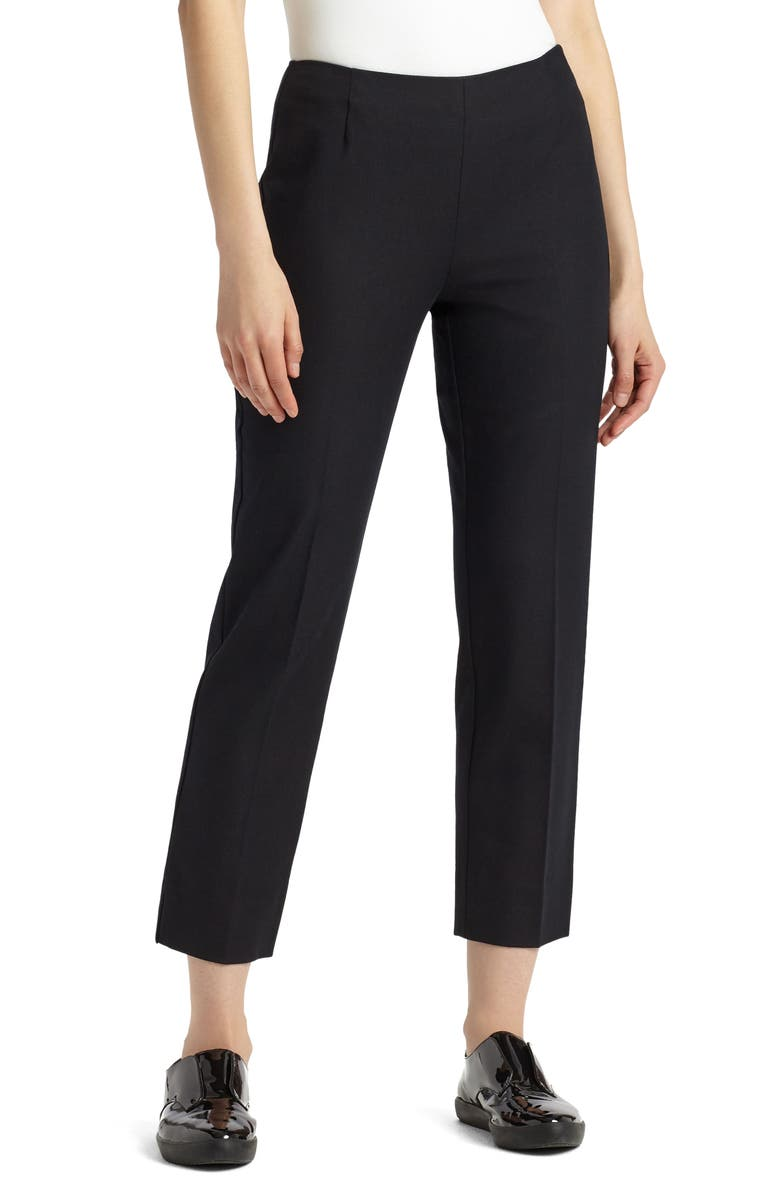 LAFAYETTE 148 NEW YORK Lexington Stretch Cotton Crop Pants, Main, color, BLACK