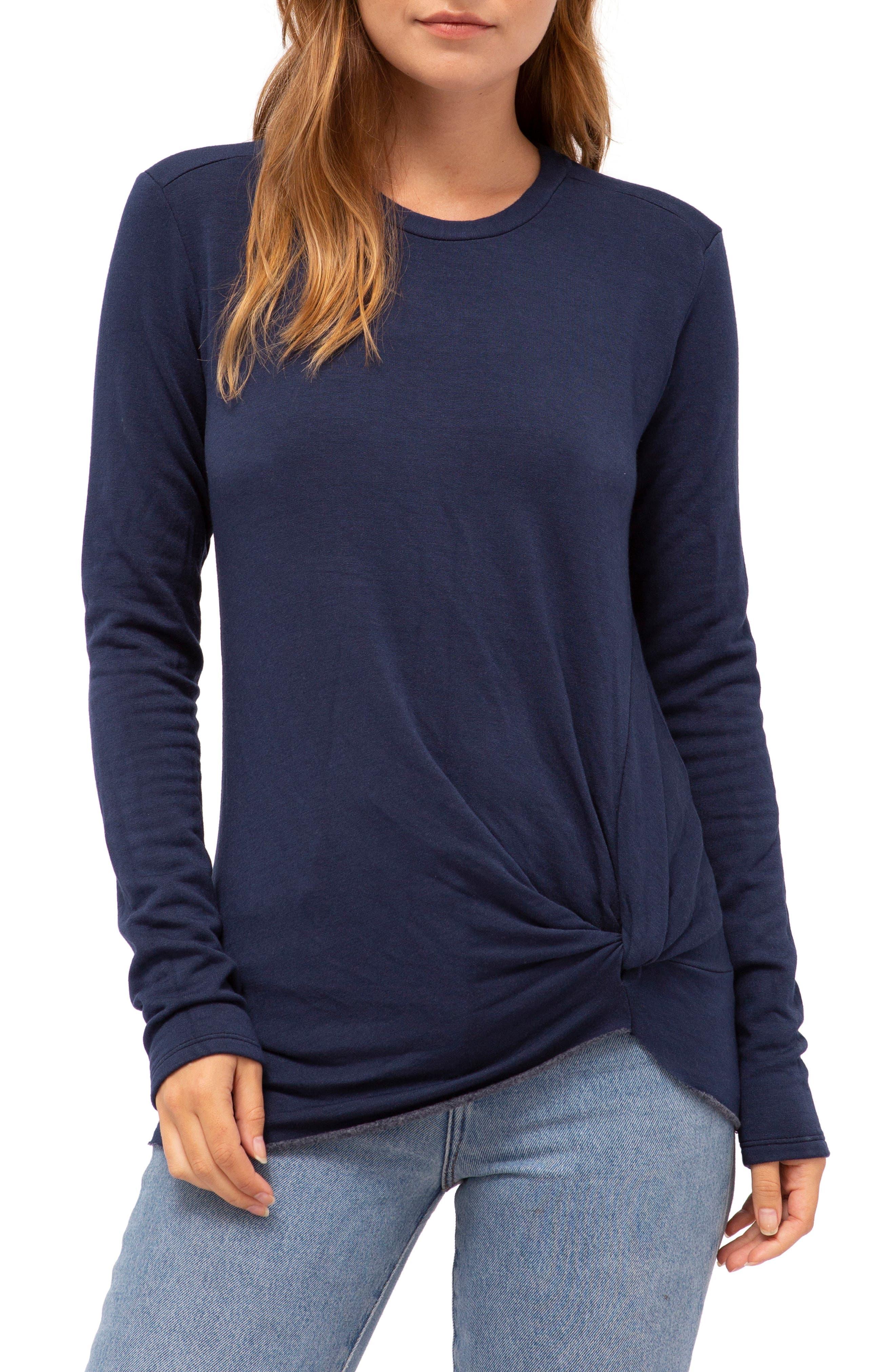 Stateside Twist Front Fleece Sweatshirt, Blue