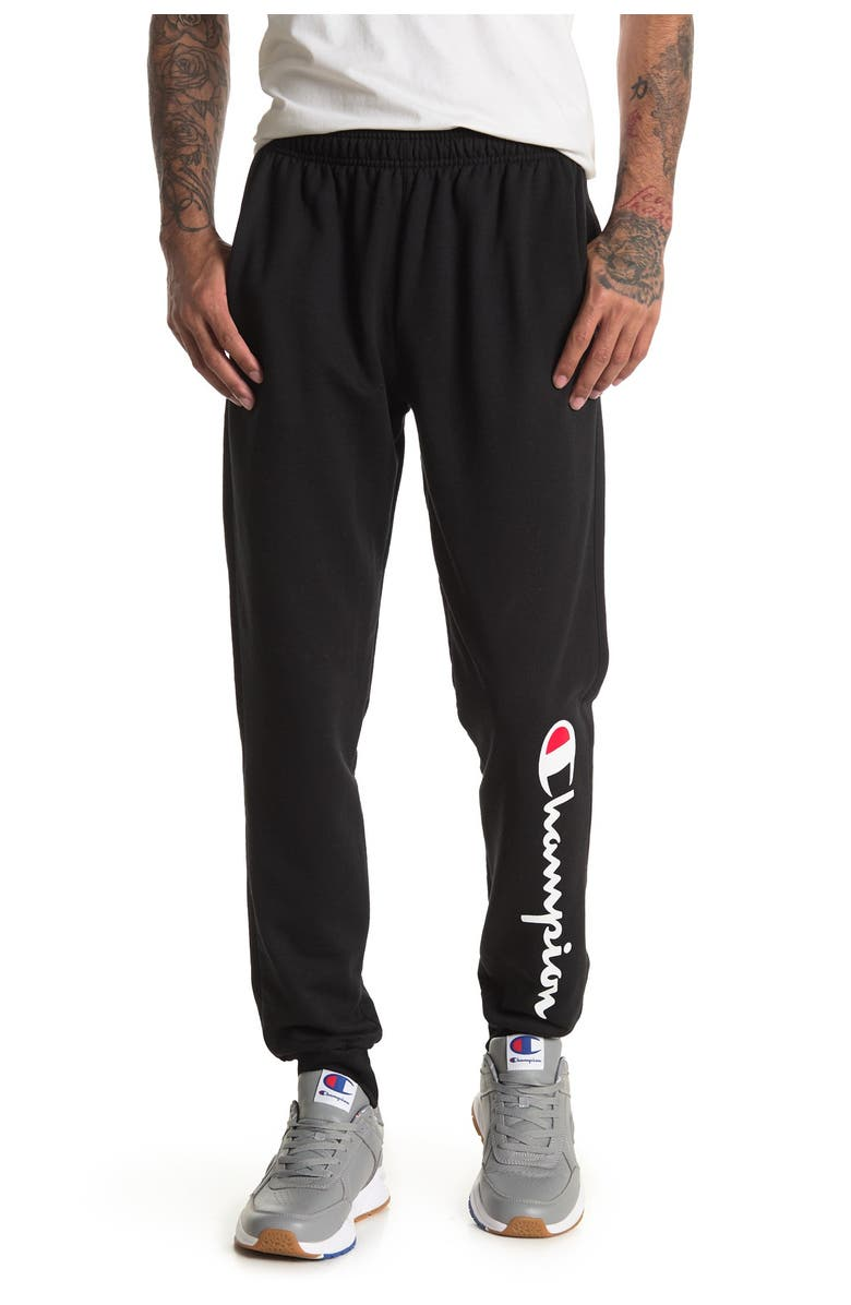 CHAMPION Powerblend Logo Sweatpants, Main, color, BLACK