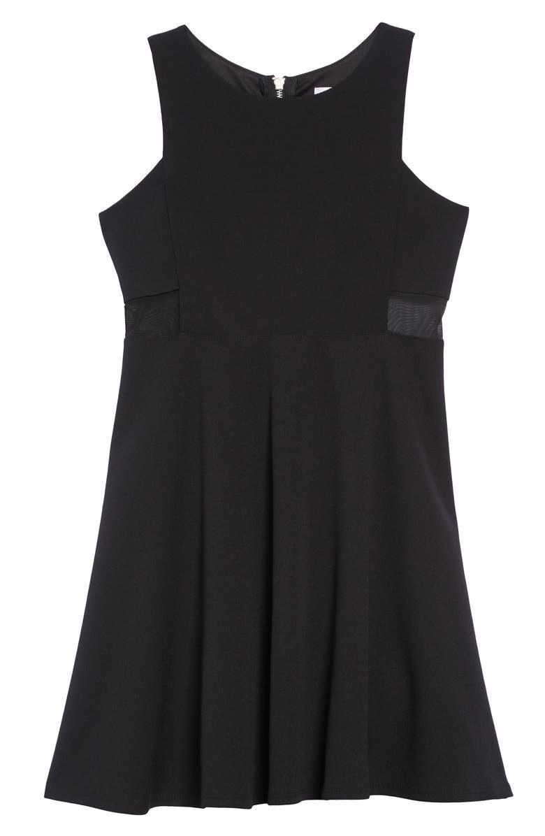 LOVE, NICKIE LEW Mesh Inset Skater Dress, Main, color, BLACK