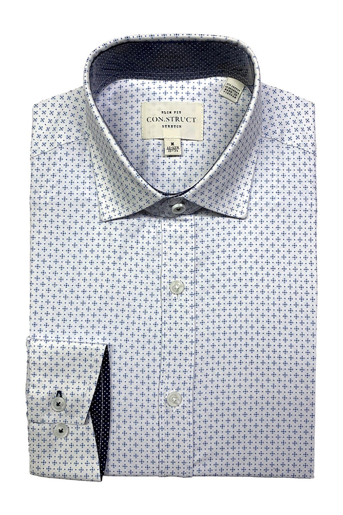 Image of CONSTRUCT Mini Square Print Slim Fit Dress Shirt