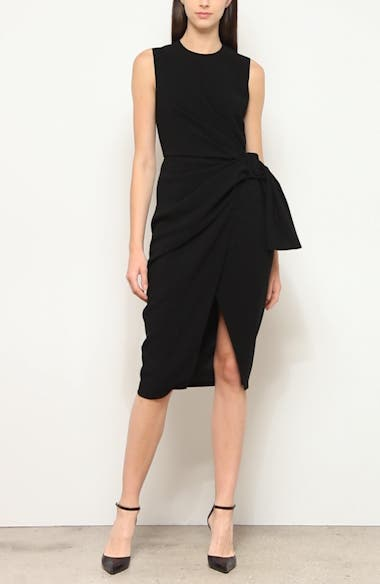 Sleeveless Drape Knot Pencil Dress, video thumbnail