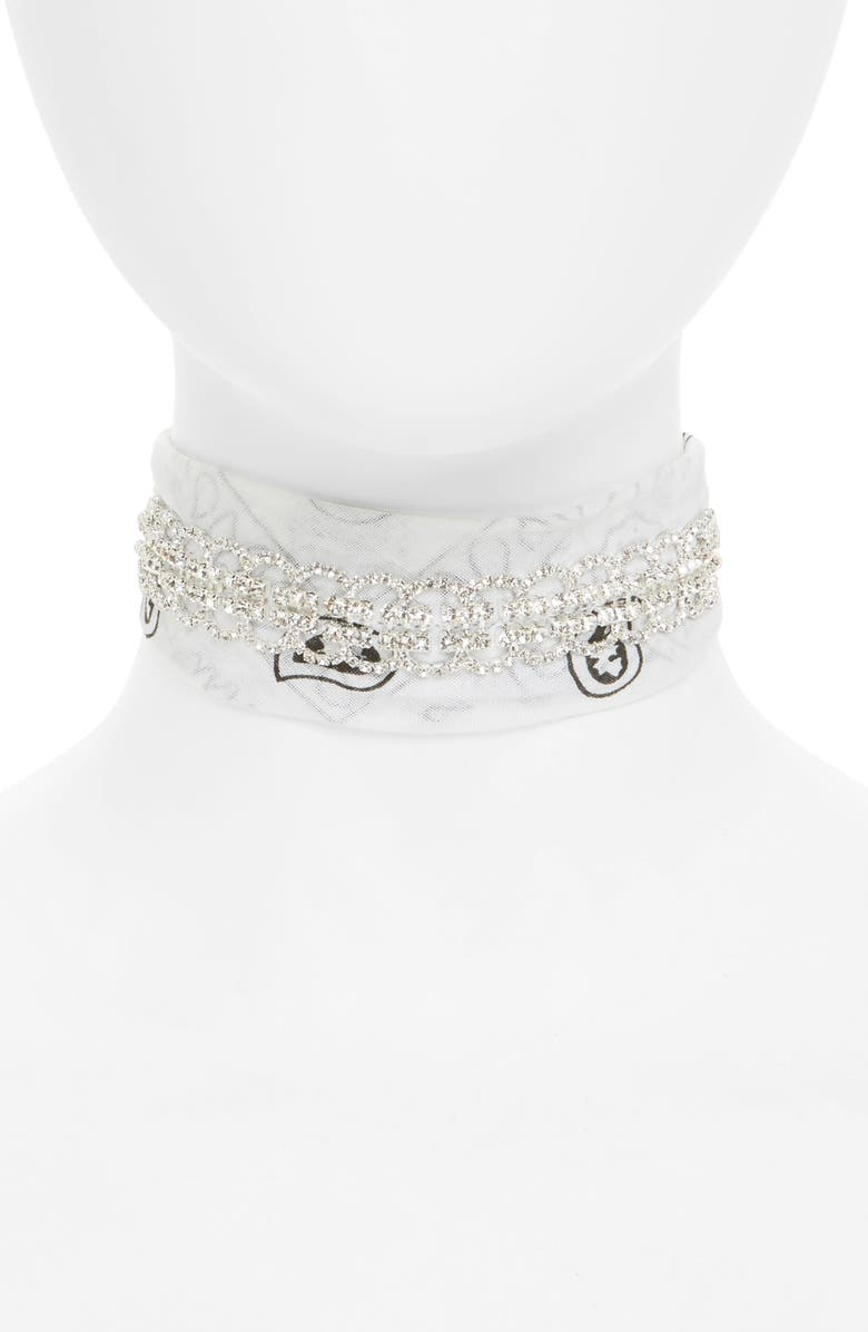 GIRLY Crystal Bandana Choker, Main, color, 100