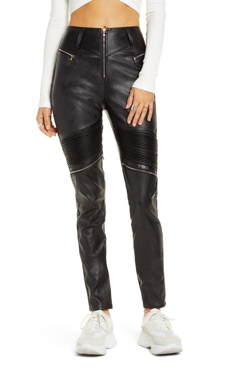 TIGER MIST Nero Faux Leather Skinny Pants, Main, color, BLACK
