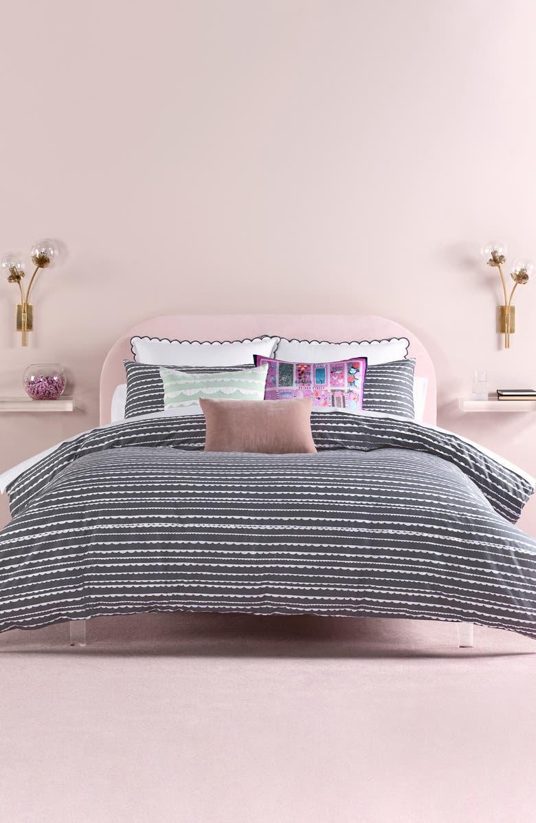 KATE SPADE NEW YORK scallop row comforter & sham set, Main, color, CHARCOAL