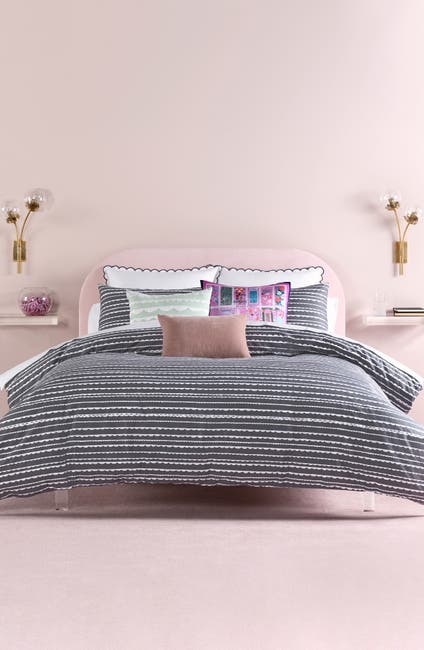 Image of kate spade new york charcoal scallop row twin duvet cover 2-piece set