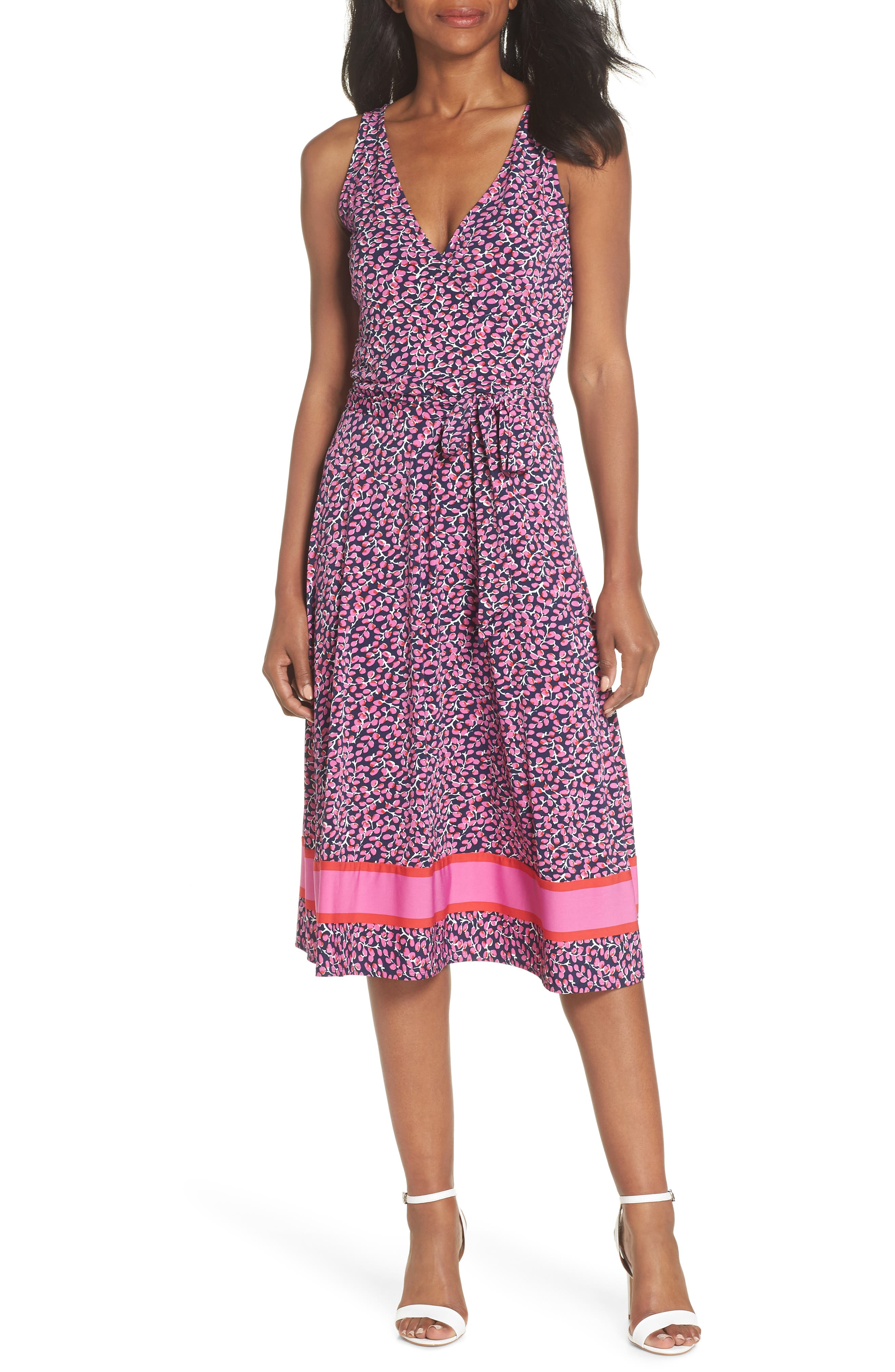 ,                             Justine Border Print Wrap Dress,                             Main thumbnail 8, color,                             665