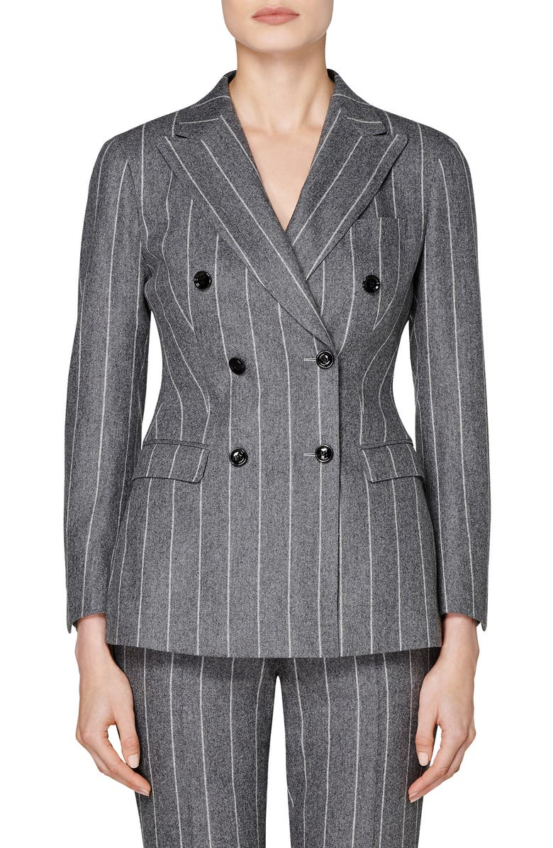 SUISTUDIO Cameron Chalk Stripe Double Breasted Wool & Alpaca Blend Jacket, Main, color, GREY CHALK STRIPE