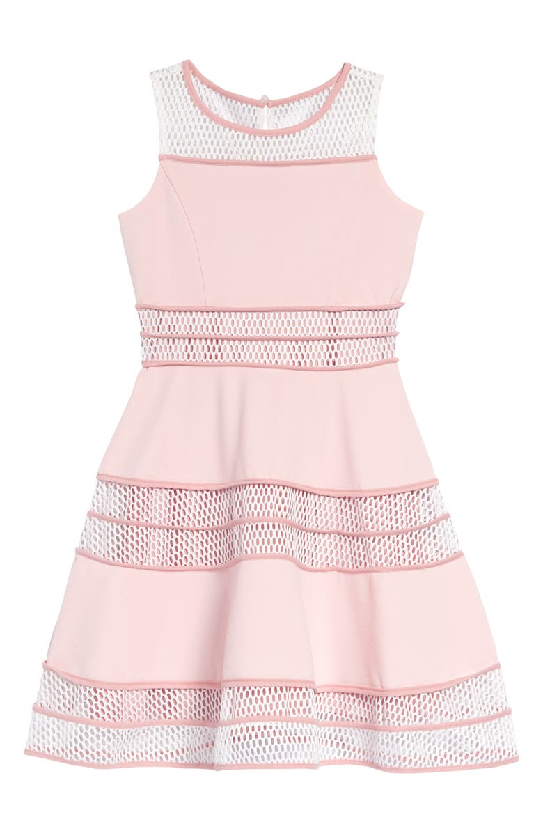 BLUSH BY US ANGELS Sleeveless Skater Dress, Main, color, PINK