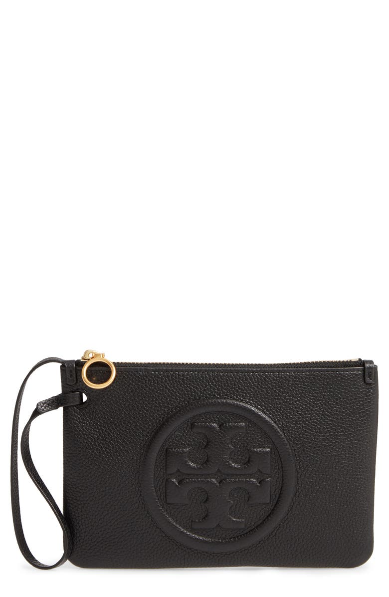 TORY BURCH Perry Leather Wristlet, Main, color, BLACK
