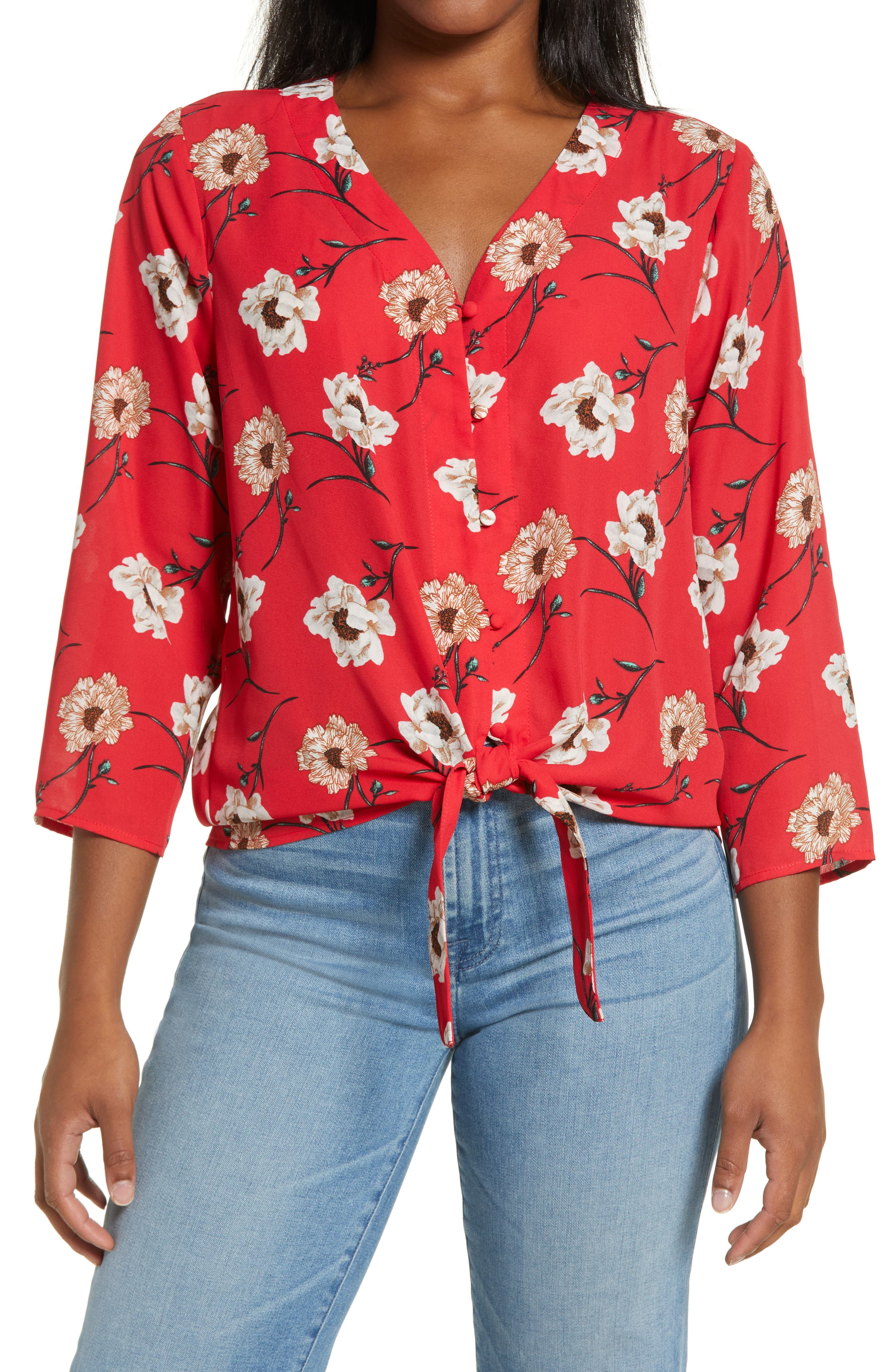 Lucille Floral Tie Front Blouse